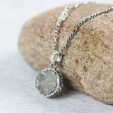Yellow druzy pendant necklace in silver bezel setting with aquamarine beads on sterling silver chain - Metal Studio Jewelry