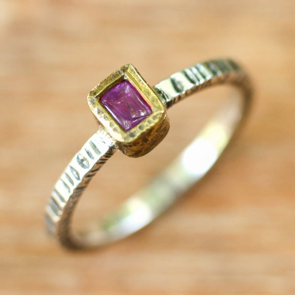 Rectangle pink sapphire ring in brass bezel setting with sterling silver textured design band - Metal Studio Jewelry