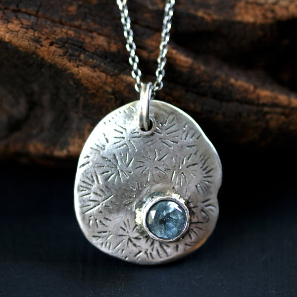 Round blue topaz with silver Lotus leaf pendant necklace on oxidized sterling silver chain