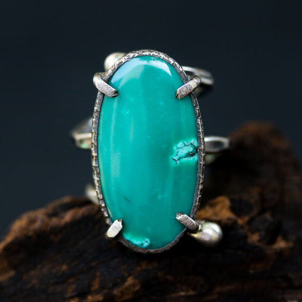 Dark green Turquoise ring in silver bezel and prongs setting with sterling silver wrap band - Metal Studio Jewelry