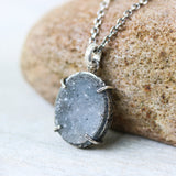 Gray druzy pendant necklace in silver bezel and prongs setting and aquamarine beads on the side - Metal Studio Jewelry