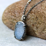 Light gray druzy pendant necklace in silver bezel and prongs setting - Metal Studio Jewelry