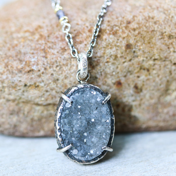 Sterling silver necklace with oval grey Druzy quartz pendant