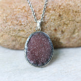 Brown Brazilian druzy pendant necklace with sterling silver oxidized chain - Metal Studio Jewelry