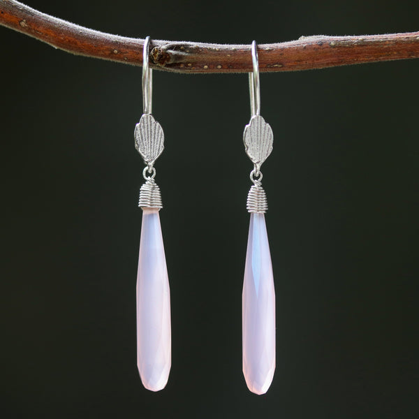 Pink chalcedony earrings with silver wire wrapped on sterling silver hooks leaf design style - Metal Studio Jewelry