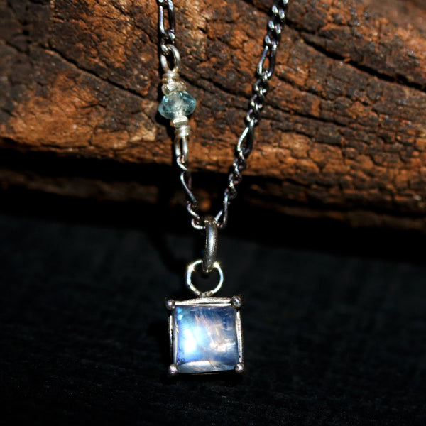 Tiny square cabochon moonstone pendant necklace in silver bezel and prongs setting - Metal Studio Jewelry
