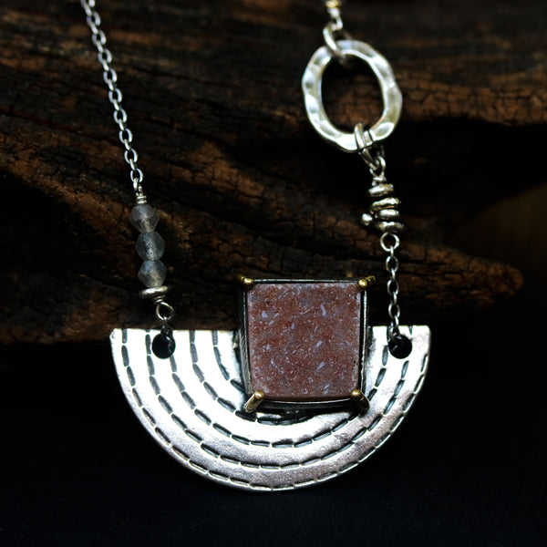 Square peach druzy pendant necklace in silver bezel and brass prongs setting with silver fan engraving textured on silver oxidized chain - Metal Studio Jewelry