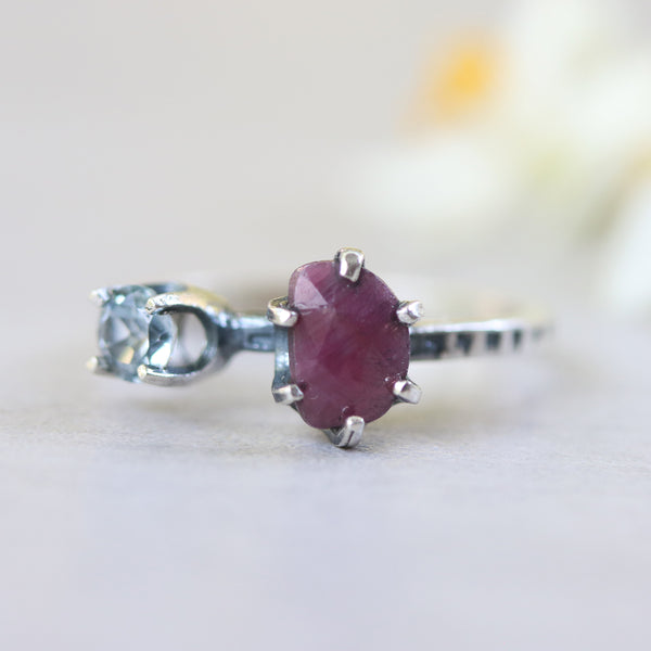 Ruby ring in silver prongs setting and Swiss blue topaz on the side - Metal Studio Jewelry