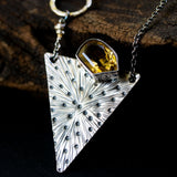 Citrine pendant necklace in silver bezel setting with engraving technique in silver triangle shape - Metal Studio Jewelry