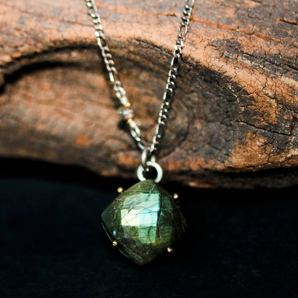Square faceted Labradorite pendant necklace with sterling silver chain - Metal Studio Jewelry
