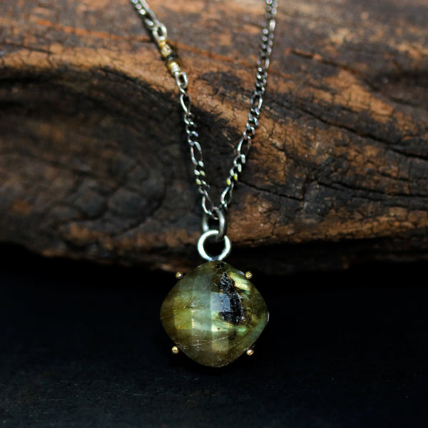 Square olive green Labradorite pendant necklace with sterling silver chain - Metal Studio Jewelry