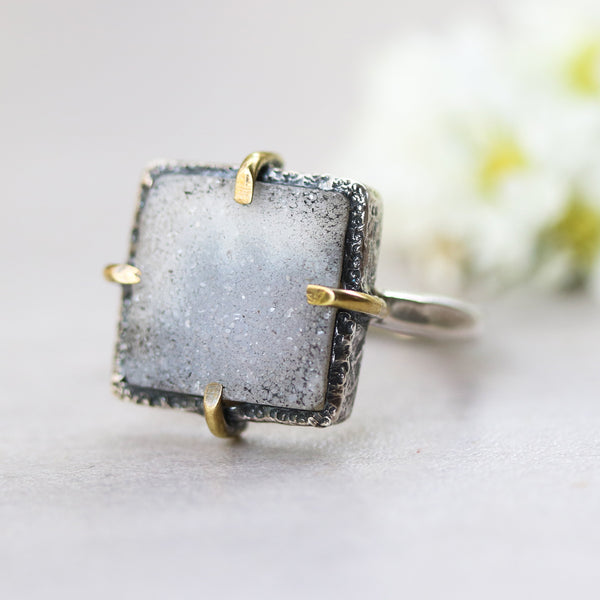 Square dark gray Brazilian druzy ring in silver bezel and brass prongs setting with sterling silver texture band - Metal Studio Jewelry