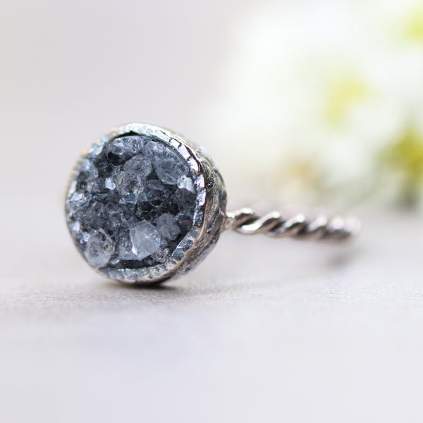 Round cut deep black druzy silver ring in silver bezel setting with twist texture band - Metal Studio Jewelry