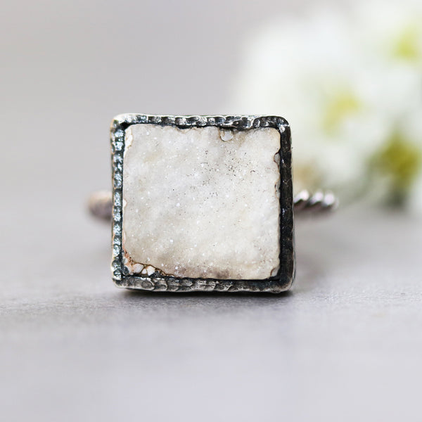 Square white druzy ring in silver bezel setting with oxidized sterling silver twist design band - Metal Studio Jewelry