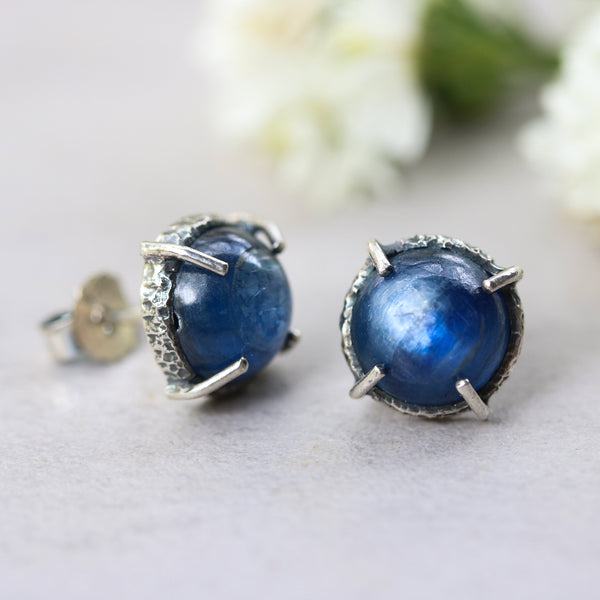 Round kyanite stud earrings in silver bezel and prongs setting with sterling silver post and backing