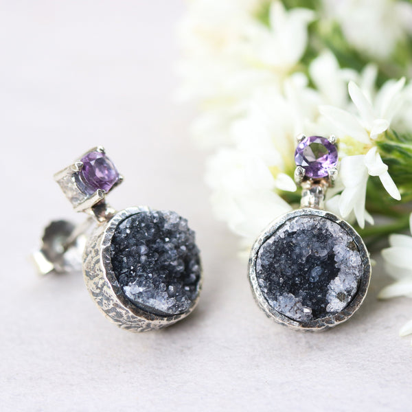 Round black druzy quartz earrings and tiny round faceted amethyst in silver bezel and prongs setting with sterling silver stud style - Metal Studio Jewelry