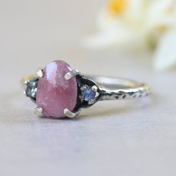 Ruby ring with moonstone side set gems in prongs setting with sterling silver oxidized texture band - Metal Studio Jewelry