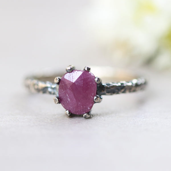 Natural ruby ring in silver prongs setting with sterling silver oxidized hard textured band - Metal Studio Jewelry