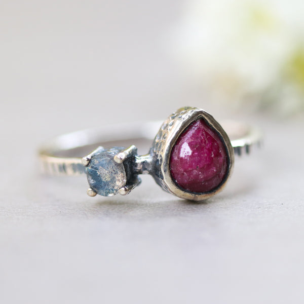 Red ruby ring in silver bezel setting and round labradorite with sterling silver texture design band - Metal Studio Jewelry