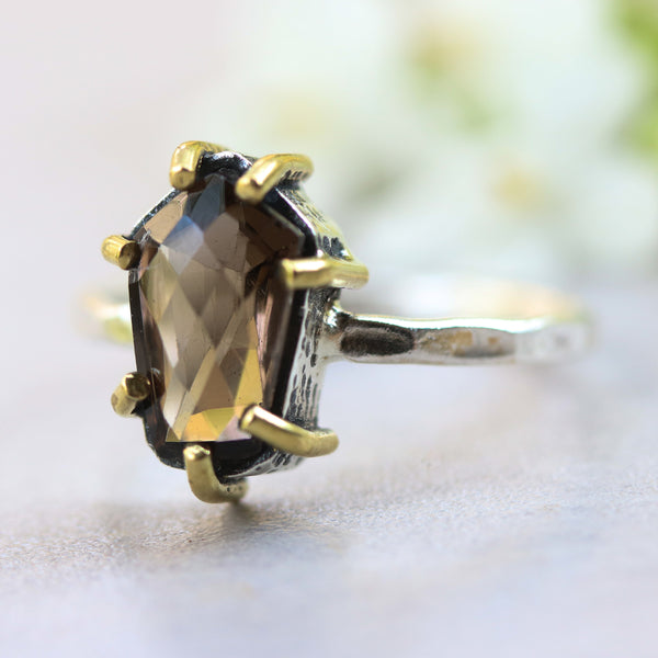 Faceted smoky quartz ring in silver bezel and brass prongs with sterling silver hammer texture band - Metal Studio Jewelry