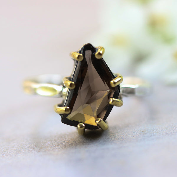 Smoky quartz ring in silver bezel and brass prongs with sterling silver hammer texture band - Metal Studio Jewelry