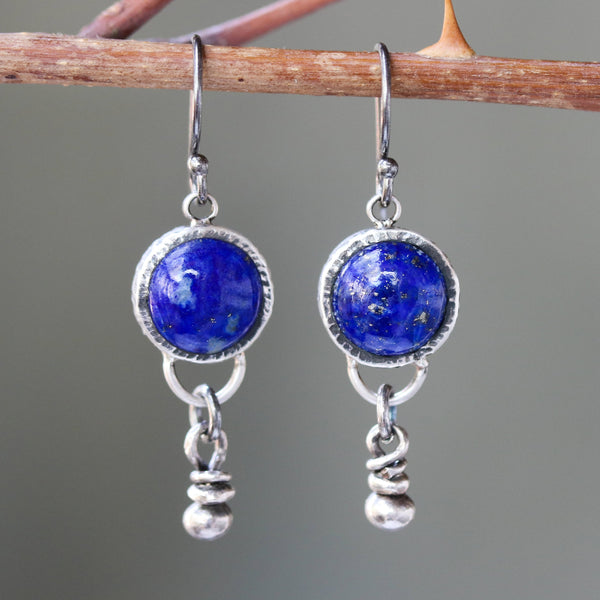 Round cabochon lapis lazuli earrings and silver beads decorated below with oxidized sterling silver hooks - Metal Studio Jewelry