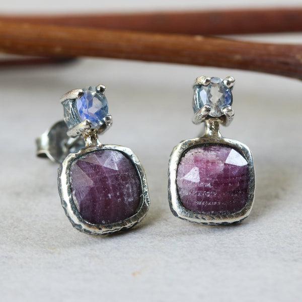 Square ruby and oval moonstone stud earrings in bezel and prongs setting with sterling silver post and backing - Metal Studio Jewelry