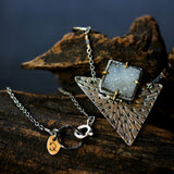 Light grey druzy necklace with triangle silver plate and oxidized sterling silver chain - Metal Studio Jewelry