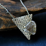 Brown druzy necklace with triangle silver plate in dot design and oxidized sterling silver chain - Metal Studio Jewelry