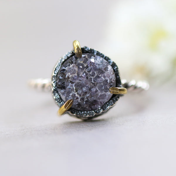 Purple round druzy quartz ring in silver bezel and brass prongs setting with oxidized sterling silver twist design band - Metal Studio Jewelry