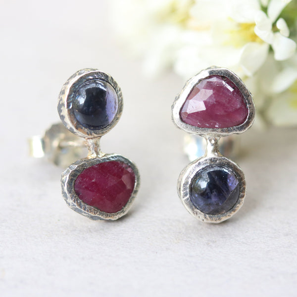 Triangle red ruby and round iolite stud earrings in silver bezel setting with sterling silver post and backing - Metal Studio Jewelry