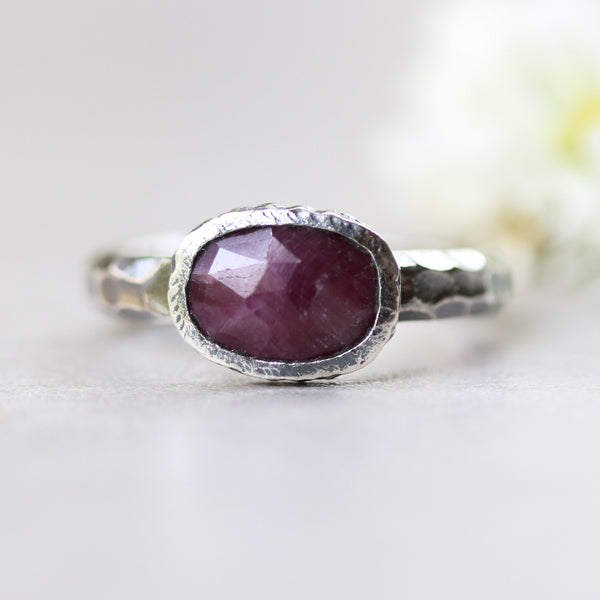 Rectangle faceted ruby ring in silver bezel setting with sterling silver oxidized hard textured band - Metal Studio Jewelry