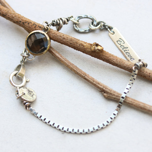 Believe,smoky quartz bracelet in brass bezel setting and oxidized sterling silver in box design chain - Metal Studio Jewelry