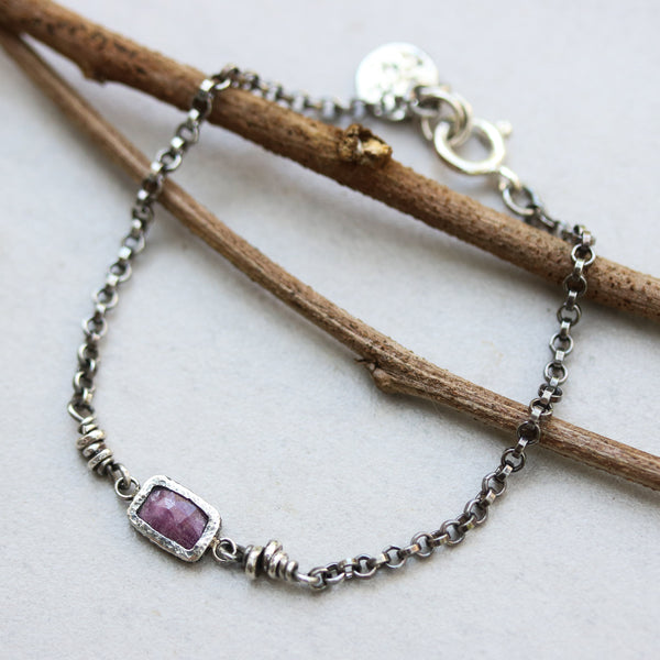 Rectangle faceted ruby bracelet in silver bezel setting and sterling silver oxidized rolo chain - Metal Studio Jewelry