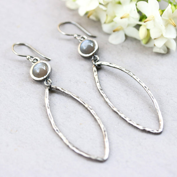 Earrings,round cabochon moonstone and silver marquise shape with texture on sterling silver hooks style - Metal Studio Jewelry