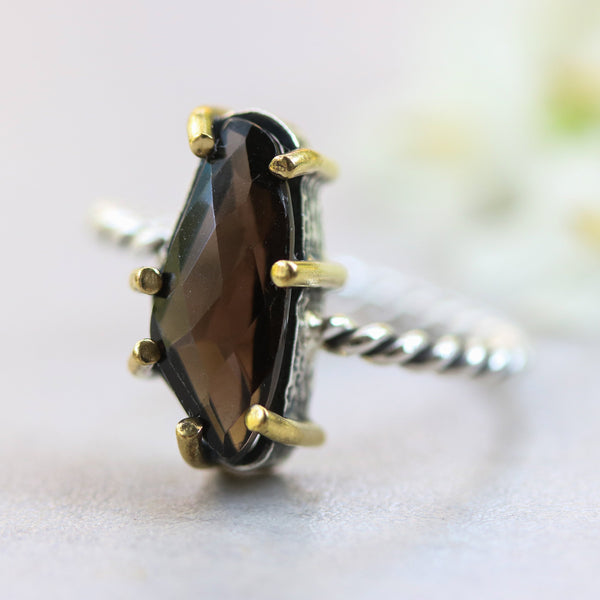 Faceted smoky quartz ring in silver bezel and brass prongs with sterling silver oxidized twist design band - Metal Studio Jewelry