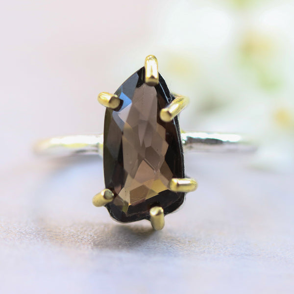 Faceted smoky quartz ring in silver bezel and brass prongs with sterling silver high polished band - Metal Studio Jewelry