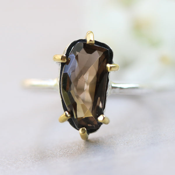 Natural smoky quartz ring in silver bezel and brass prongs with sterling silver high polished band - Metal Studio Jewelry