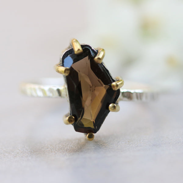 Natural Smoky quartz ring in silver bezel and brass prongs with sterling silver oxidized texture band - Metal Studio Jewelry