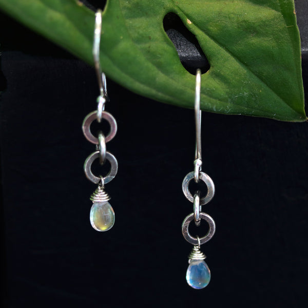 Earrings,Teardrop cabochon moonstone and 3 round silver ring on sterling silver hooks style - Metal Studio Jewelry