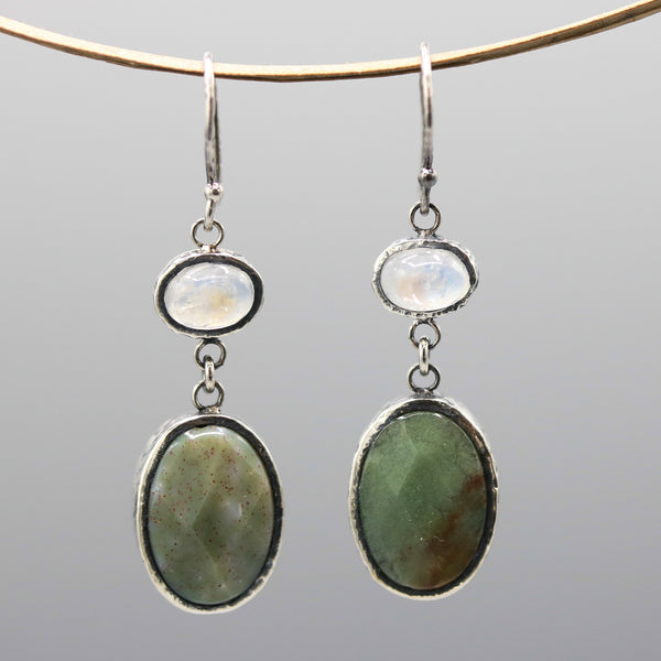 Oval green agate and moonstone earrings in silver bezel setting with sterling silver hooks - Metal Studio Jewelry