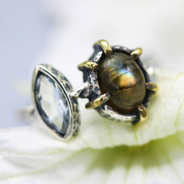 Oval green labradorite and marquise  blue topaz ring in silver bezel and brass prongs setting - Metal Studio Jewelry