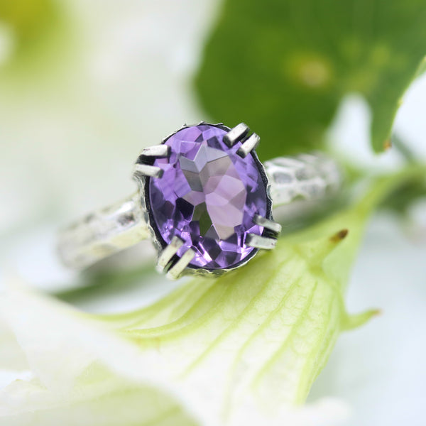 Oval Amethyst ring in silver bezel and double prongs setting in silver texture oxidized band - Metal Studio Jewelry