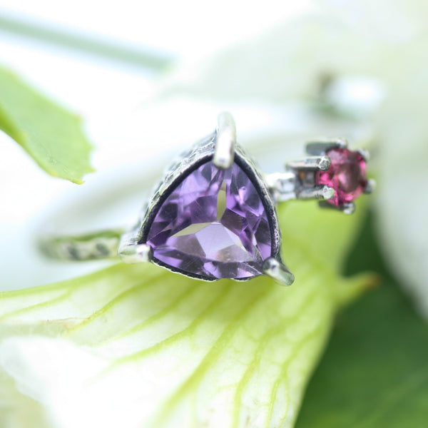 Trillion Amethyst ring and tiny pink sapphire in silver bezel and prongs setting with sterling silver texture band - Metal Studio Jewelry