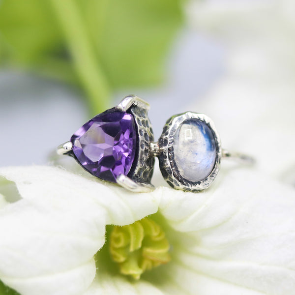 Trillion Amethyst ring and oval moonstone on the side with sterling silver texture band - Metal Studio Jewelry