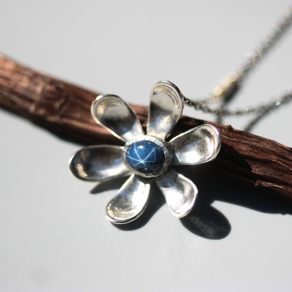 Sterling silver flower pendant neacklace with oval blue star sapphire in silver bezel setting - Metal Studio Jewelry