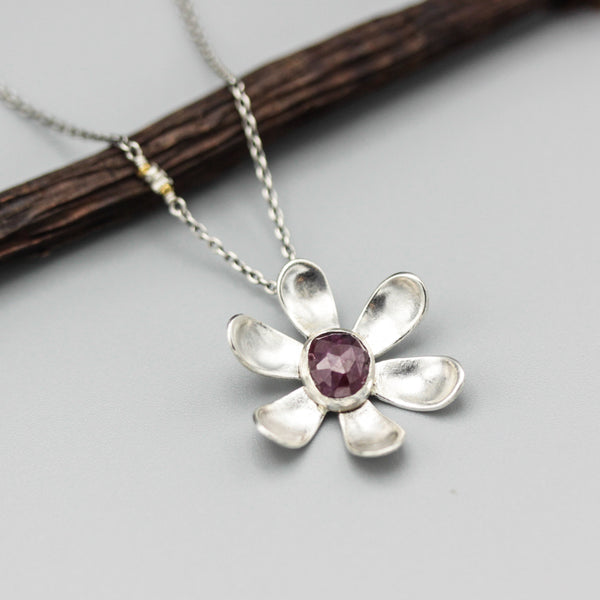 Sterling silver flower pendant neacklace with faceted Ruby in silver bezel setting - Metal Studio Jewelry