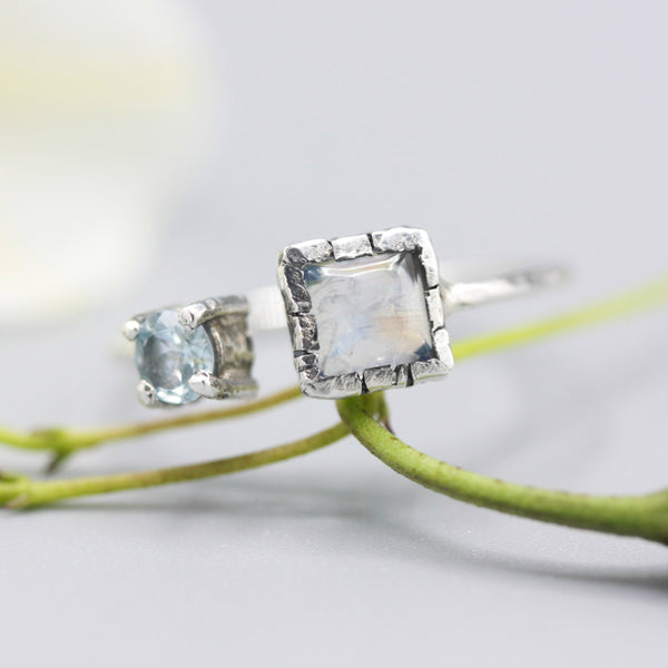 Dainty square moonstone ring and blue topaz in silver bezel and prongs setting with sterling silver hammer texture band - Metal Studio Jewelry