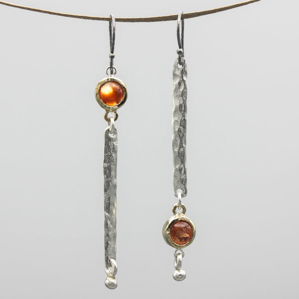 Round Sunstone earrings in brass bezel setting with silver bar hammer textured on sterling silver hooks style - Metal Studio Jewelry