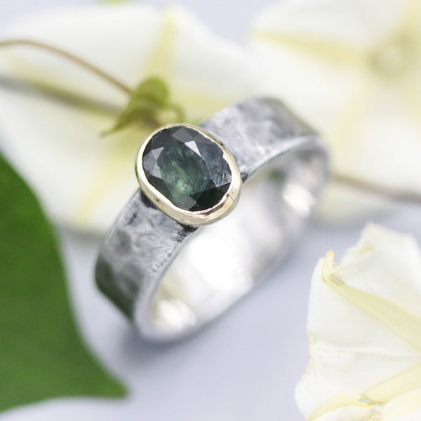 Green tourmaline ring in 14k gold bezel setting with sterling silver oxidized hammer texture thick band - Metal Studio Jewelry